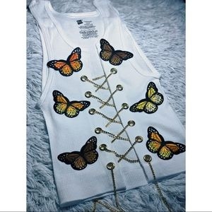 Butterfly chain crop tops